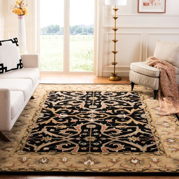 Charcoal, Beige (A) Traditional / Oriental Area Rug