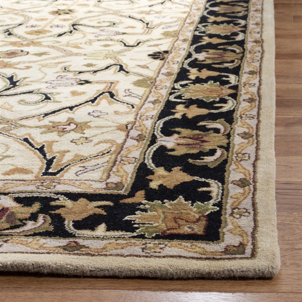 Ivory, Black (C) Traditional / Oriental Area Rug
