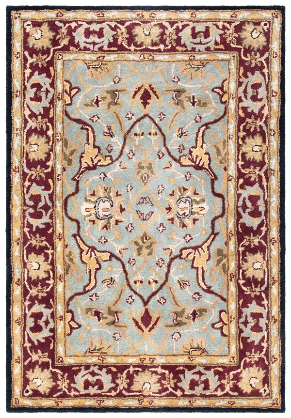 Light Blue, Red (A) Traditional / Oriental Area Rug