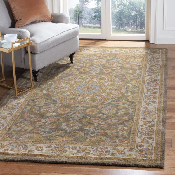 Green, Taupe (A) Traditional / Oriental Area Rug
