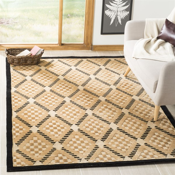 Black, Gold (A)  Transitional Area Rug