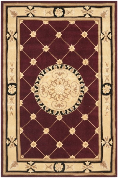 Burgundy, Ivory (A) Traditional / Oriental Area Rug
