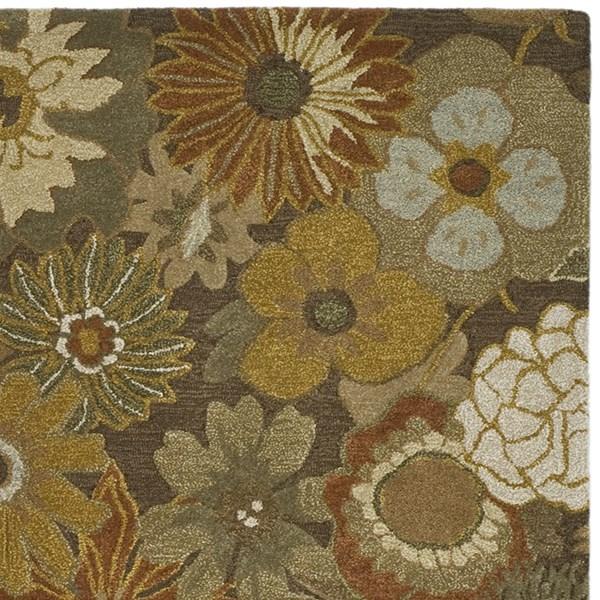 Brown (A) Floral / Botanical Area Rug