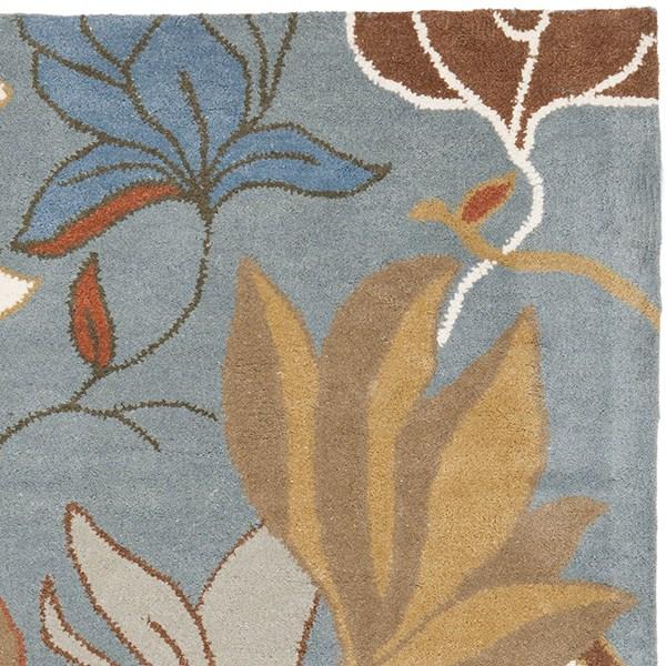 Blue (A) Floral / Botanical Area Rug