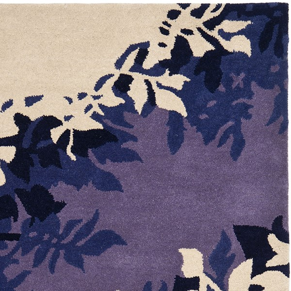 Beige, Purple (A) Contemporary / Modern Area Rug