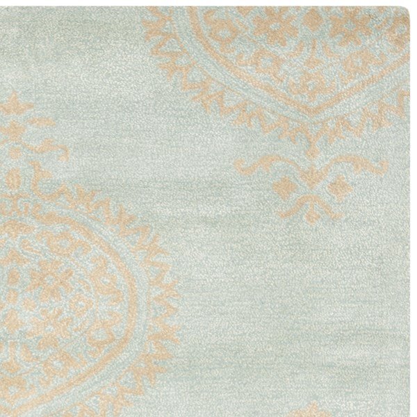 Blue, Beige (A) Damask Area Rug