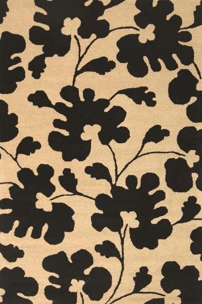 Beige, Black (A) Floral / Botanical Area Rug