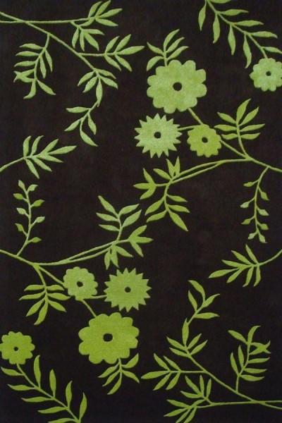 Brown, Green (A) Floral / Botanical Area Rug