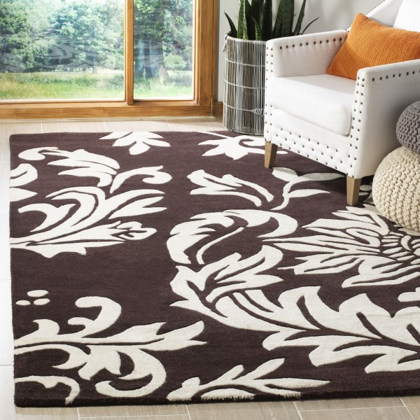Brown, Ivory (A) Floral / Botanical Area Rug