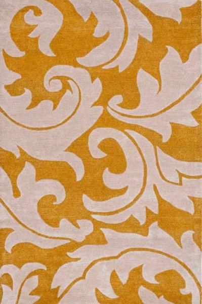 Gold, Ivory (A) Floral / Botanical Area Rug