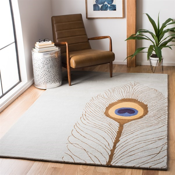 Grey, Brown (B) Transitional Area Rug