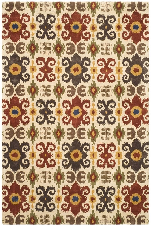 Ivory, Red (A) Ikat Area Rug