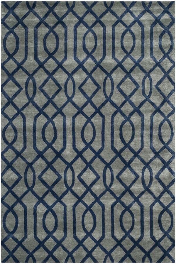 Grey, Dark Blue (A) Contemporary / Modern Area Rug