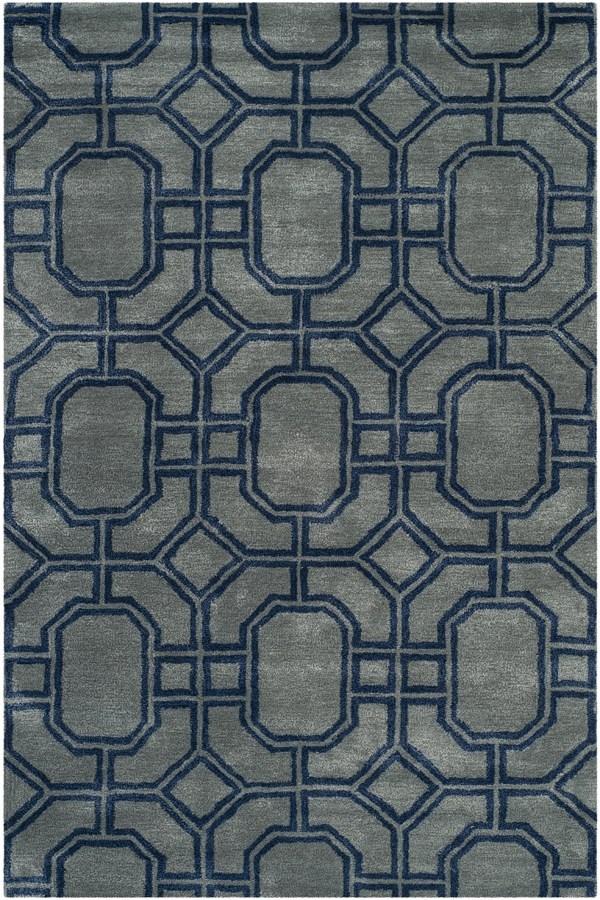 Grey, Dark Blue (A) Moroccan Area Rug