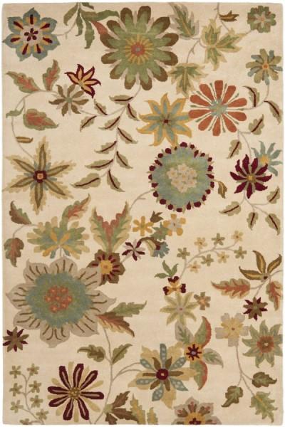 Ivory, Sage (A) Floral / Botanical Area Rug
