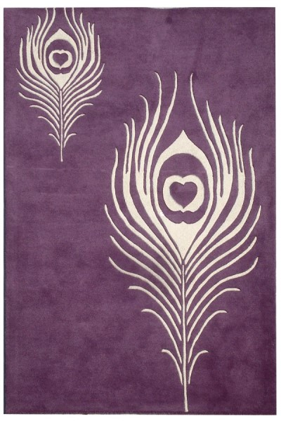 Purple, Ivory (A) Transitional Area Rug