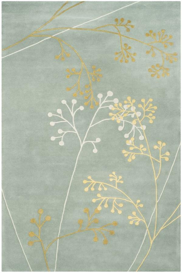 Light Blue (A) Floral / Botanical Area Rug
