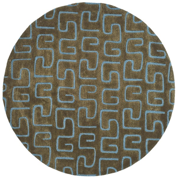 Brown, Light Blue (B) Contemporary / Modern Area Rug