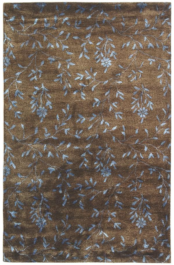 Brown, Light Blue (A) Floral / Botanical Area Rug