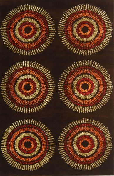 Brown, Gold (B) Contemporary / Modern Area Rug