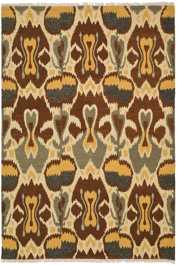 Grey, Red (A) Ikat Area Rug