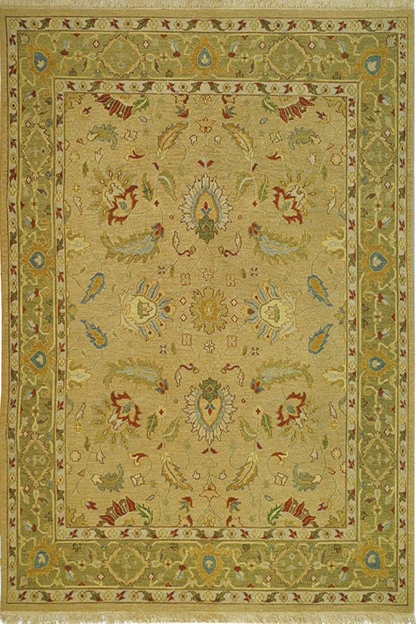 Taupe, Green (A) Traditional / Oriental Area Rug