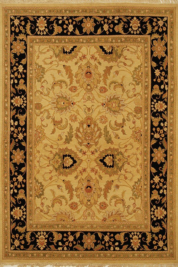Light Gold, Black (A) Traditional / Oriental Area Rug