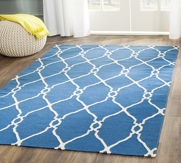 Dark Blue, Ivory (A) Transitional Area Rug