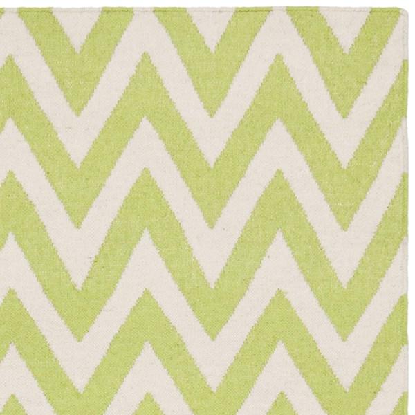 Green, Ivory (A) Chevron Area Rug