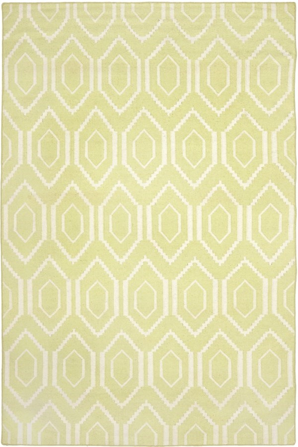 Green, Ivory (A) Moroccan Area Rug