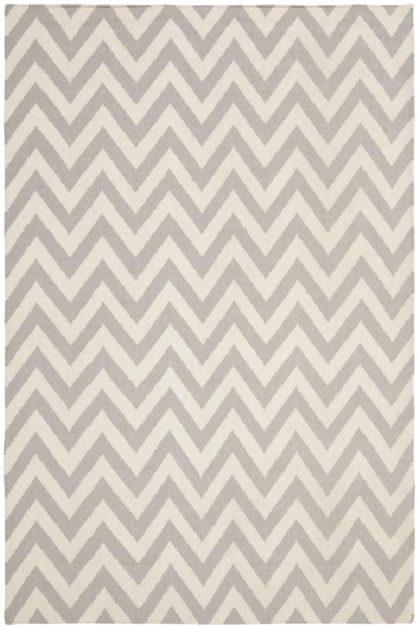 Grey, Ivory (C) Chevron Area Rug