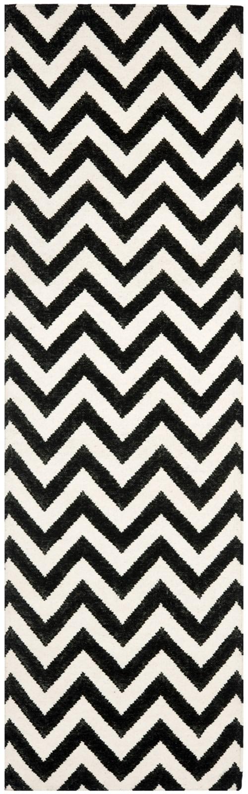 Black, Ivory (L) Chevron Area Rug
