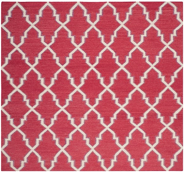 Red, Ivory (A) Moroccan Area Rug