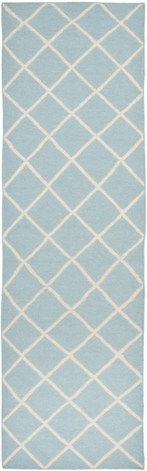 Light Blue, Ivory (B) Transitional Area Rug