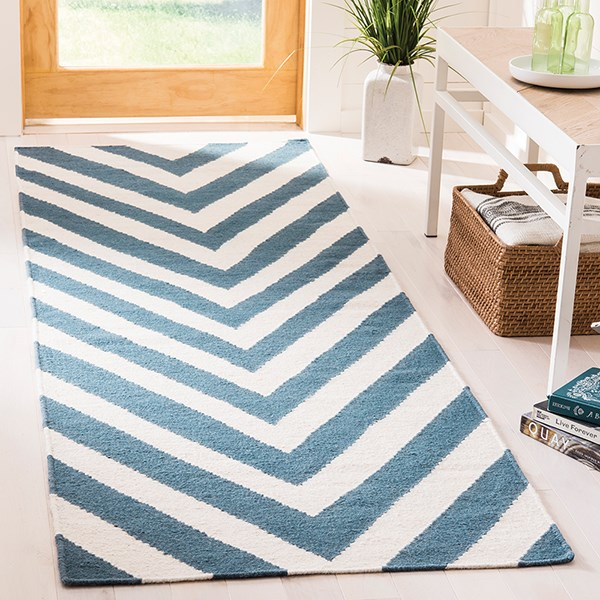 Blue, Ivory (A) Chevron Area Rug