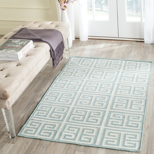 Blue, Ivory (A) Transitional Area Rug