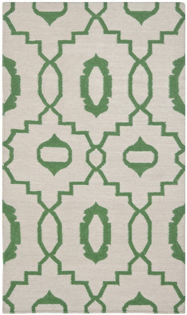 Ivory, Green (B) Moroccan Area Rug