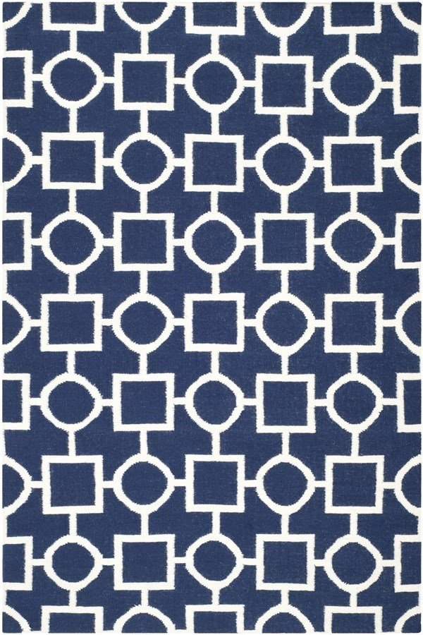 Navy, Ivory (D) Transitional Area Rug