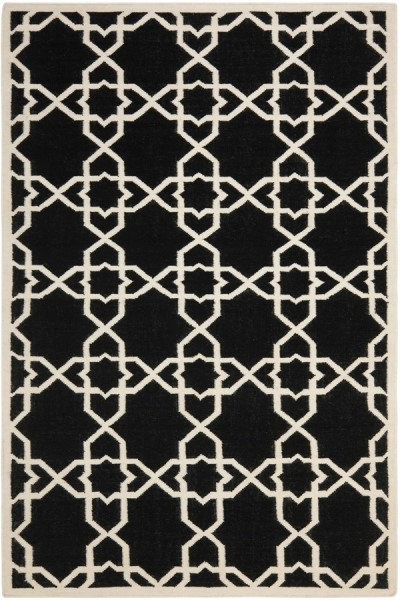 Black, Ivory (L) Moroccan Area Rug