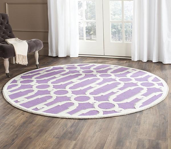 Purple, White (B) Contemporary / Modern Area Rug
