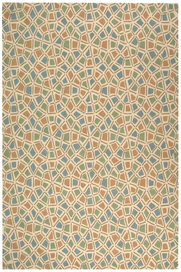 Blue, Green (C) Transitional Area Rug
