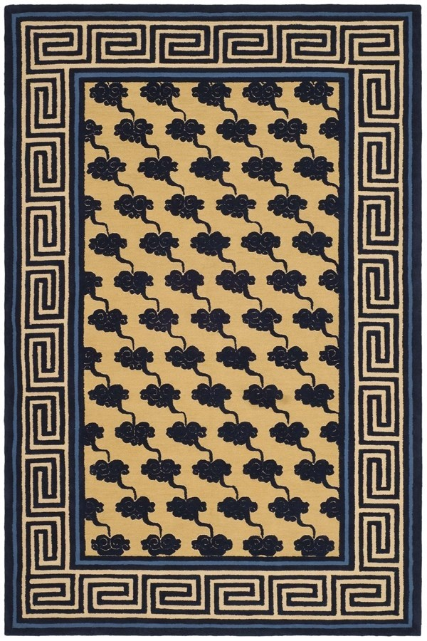 Beige, Blue (A) Bordered Area Rug