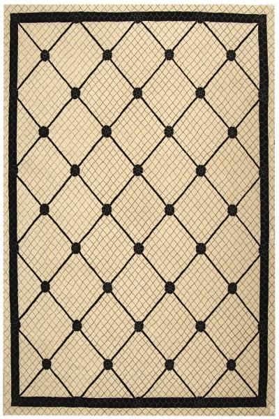 Ivory, Black (A) Bordered Area Rug
