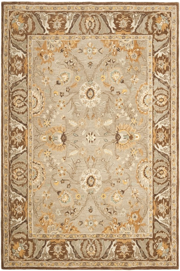 Dark Grey, Brown (A) Traditional / Oriental Area Rug