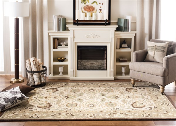 Ivory, Brown (D) Traditional / Oriental Area Rug