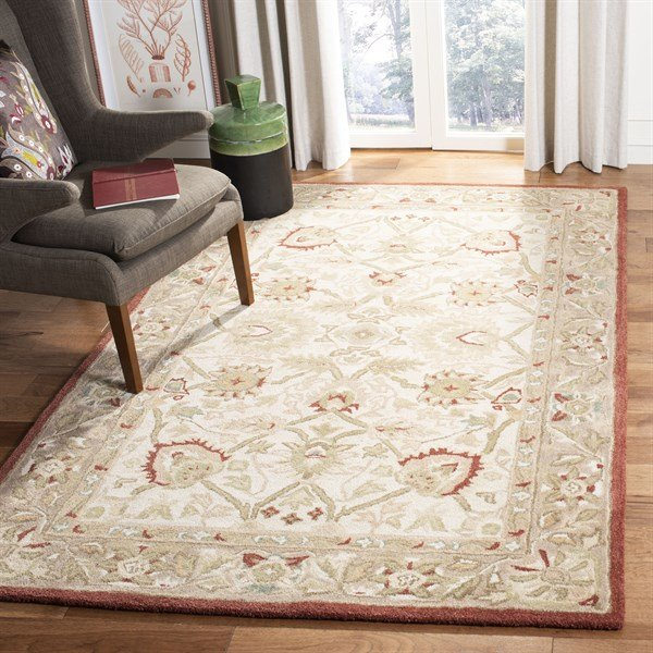 Ivory, Rust (E) Traditional / Oriental Area Rug