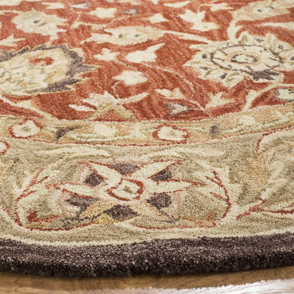 Rust, Green (G) Traditional / Oriental Area Rug