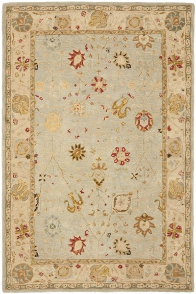 Grey Blue, Ivory (B) Traditional / Oriental Area Rug