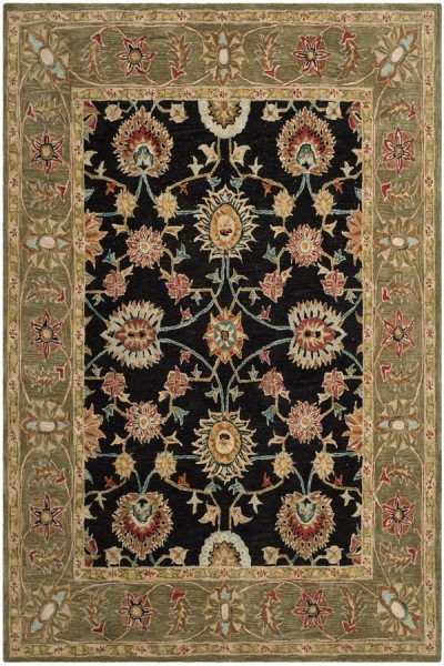 Black, Green (C) Traditional / Oriental Area Rug