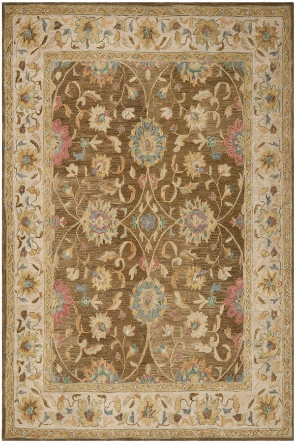 Brown, Ivory (F) Traditional / Oriental Area Rug